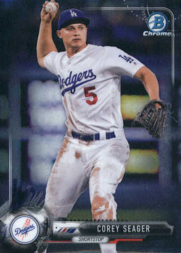 Photo of 2017 Bowman Chrome #25 Corey Seager -- Dodgers post-season
