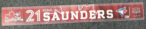 Photo of Authenticated Team Issued Canada Day 2017 Locker Name Plate - #21 Michael Saunders (2 feet by 3 inches)