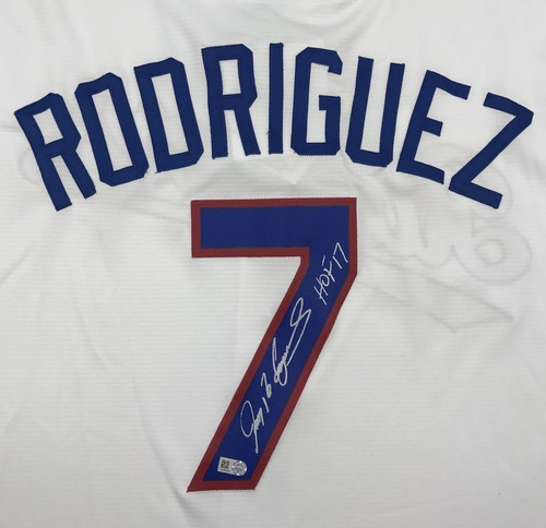 "Photo of Ivan Rodriguez ""HOF 17"" Autographed White Rangers Jersey"
