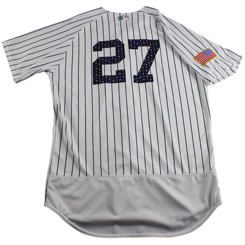 Photo of Austin Romine New York Yankees Team-Issued #27 Fourth of July Pinstripe Jersey (7/4/2017) (Size 46)