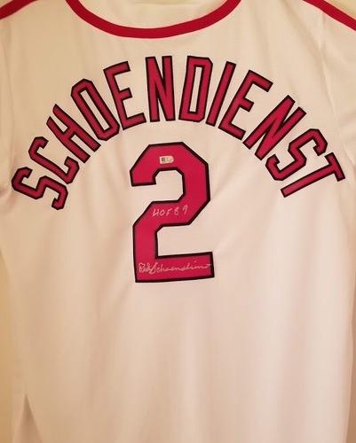 "Photo of Red Schoendienst ""HOF 89"" Autographed White Cardinals Jersey"
