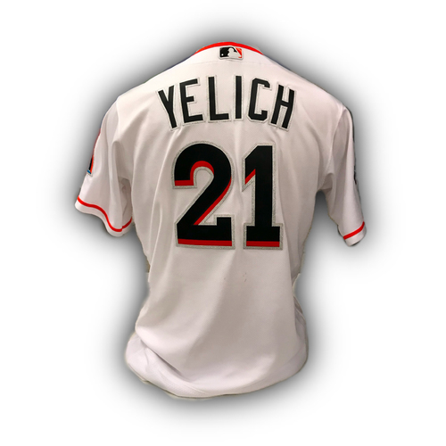 Photo of Game-Used Jersey: Christian Yelich vs  Mets (September 20, 2017) - Career Stolen Base #71