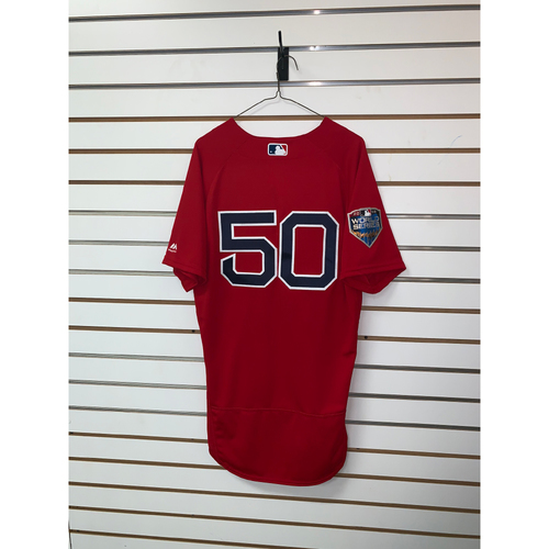 Photo of Mookie Betts Team Issued 2018 World Series Home Alternate Jersey