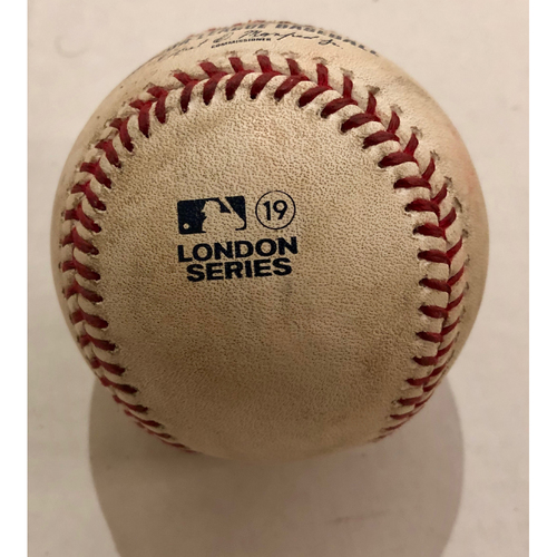 Photo of 2019 London Series - Game Used Baseball - Batter: Luke Voit, Pitcher : Mike Shawaryn, Double,  New York Yankees vs Boston Red Sox - 6/29/2019