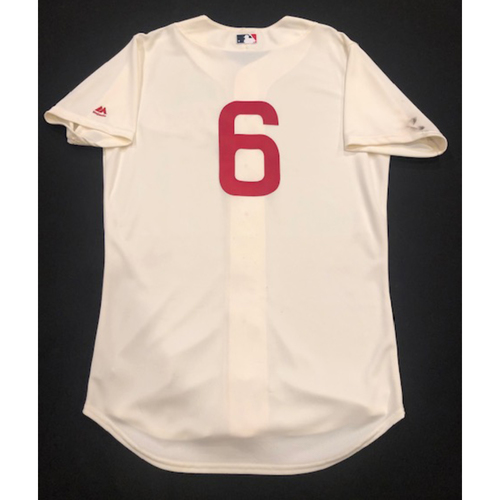 Photo of Phillip Ervin -- Game-Used 1936 Throwback Jersey (Starting LF: 2-for-4, 2 RBI, R) -- Cubs vs. Reds on June 30, 2019 -- Jersey Size 44