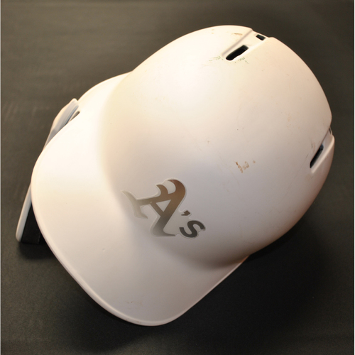 "Photo of Chris ""WORM"" Herrmann Oakland Athletics Game-Used 2019 Players' Weekend Helmet"