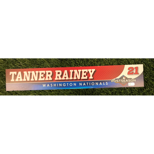Photo of Game-Used Tanner Rainey 2019 Postseason Locker Tag