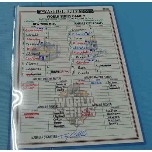 Photo of Game-Used Lineup Card - 2015 World Series - New York Mets vs. Kansas City Royals - Game 2 - 10/28/2015 - Mets Dugout