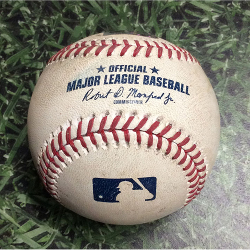 Photo of Game-Used Baseball KC@MIL 06/26/18 - Freddy Peralta - Whit Merrifield: Foul