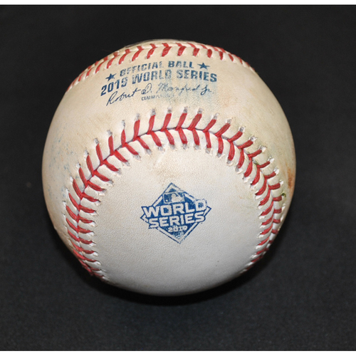Photo of Game-Used Baseball - 2019 World Series - Washington Nationals vs. Houston Astros - Batter - Yordan Alvarez, Pitcher - Patrick Corbin - Bottom 6 - Single to RF - Game 1 - 10/22/2019