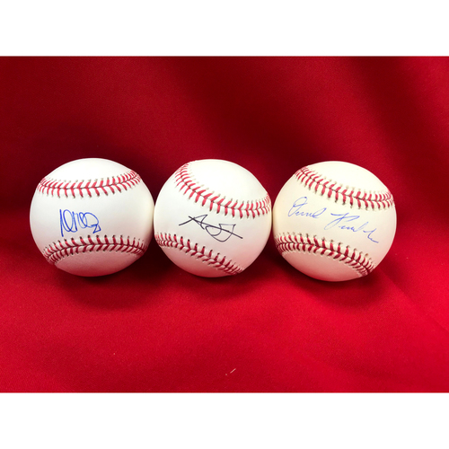 Photo of Andrew Miller, Austin Gomber, and Daniel Ponce de Leon Autographed Baseballs