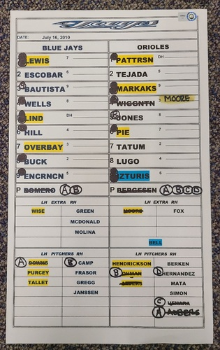 Photo of Authenticated Game Used Lineup Card (July 16, 2010 at BAL): Ricky Romero Win with 7 IP, 0 ER and 5 Ks