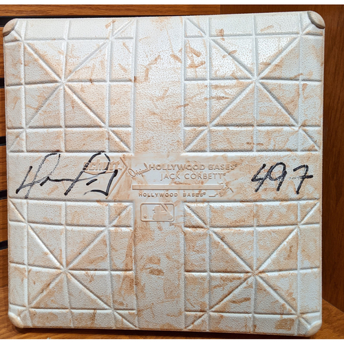 Photo of David Ortiz Autographed '497' Game Used September 6, 2015 Red Sox vs. Phillies 3rd Base