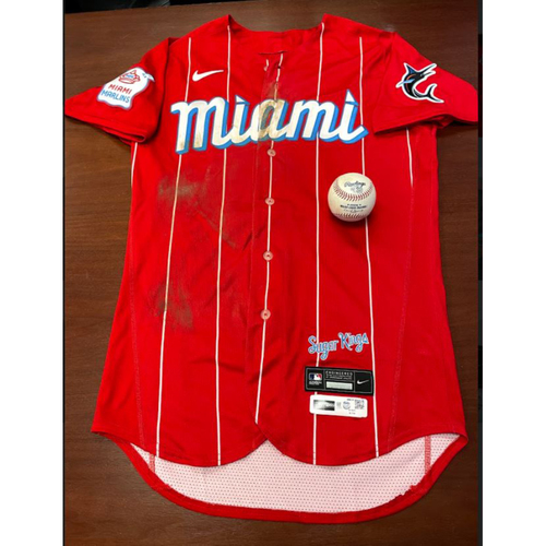 Photo of 2021 Auction: Jazz Chisholm Jr. City Connect Game-Used Jersey and Inside-The-Park HR Baseball #11 - Miami Marlins vs. Atlanta Braves 07/10/21