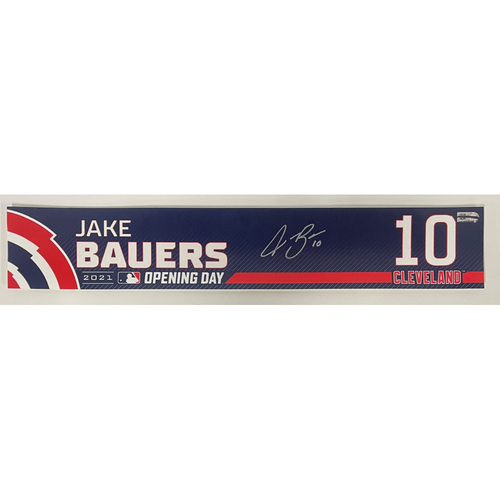 Photo of Game Used Locker Name Plate - Opening Day 4/5/2021 - Jake Bauers #10 - Autographed