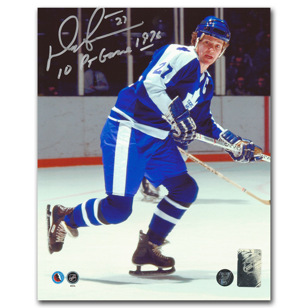 Darryl Sittler Autographed Toronto Maple Leafs 8X10 Photo w/10 PT GAME 1976 Inscription