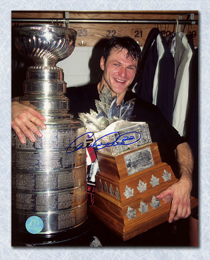 Claude Lemieux New Jersey Devils Signed 95 Stanley Cup & Conn Smythe 8x10 Photo