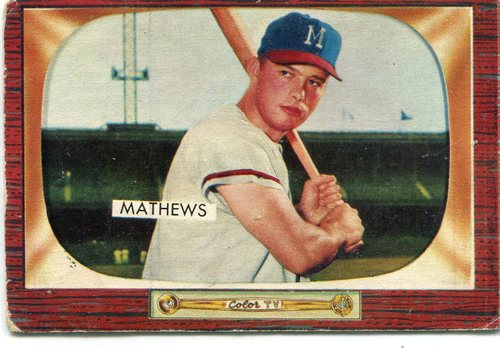 Photo of 1955 Bowman #103 Eddie Mathews -- Hall of Famer