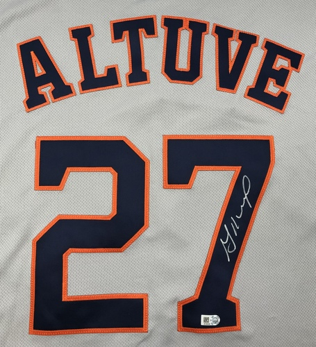 Photo of Jose Altuve Autographed Grey Astros Jersey
