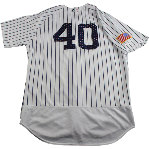 Photo of Luis Severino New York Yankees Game-Used #40 Fourth of July Pinstripe Jersey (7/4/2017) (Size 48)