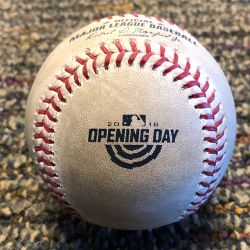 Photo of 2018 San Francisco Giants - Game-Used Baseball - Opening Day - Ty Blach to Robinson Cano
