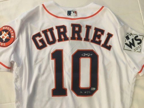 "Photo of Yuli Gurriel ""17 WSC"" Autographed Astros Authentic Jersey"