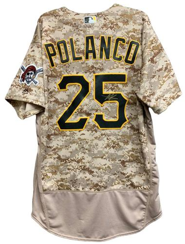 Photo of Gregory Polanco Autographed Camo Jersey