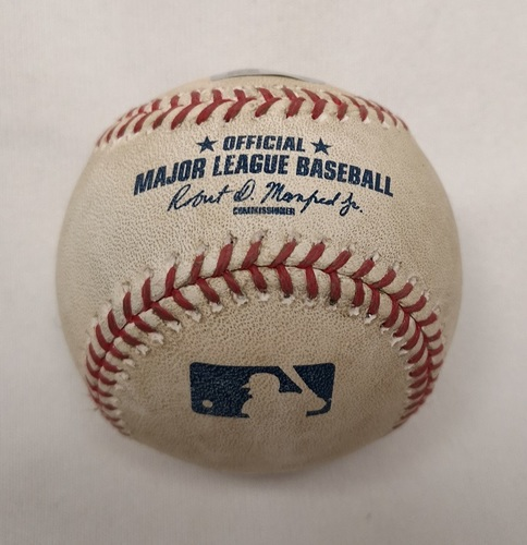 Photo of Authenticated Player Collected Baseball - Home Run (16) by Josh Donaldson against Andre Rienzo (June 8, 2015; Bottom 2). MVP Season.