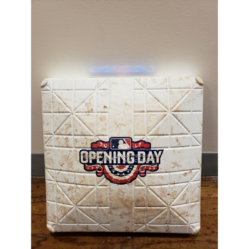 Photo of Game-Used Opening Day Base: Colorado Rockies at Milwaukee Brewers - 3rd Base Used in Innings 7-9 - 4/3/17