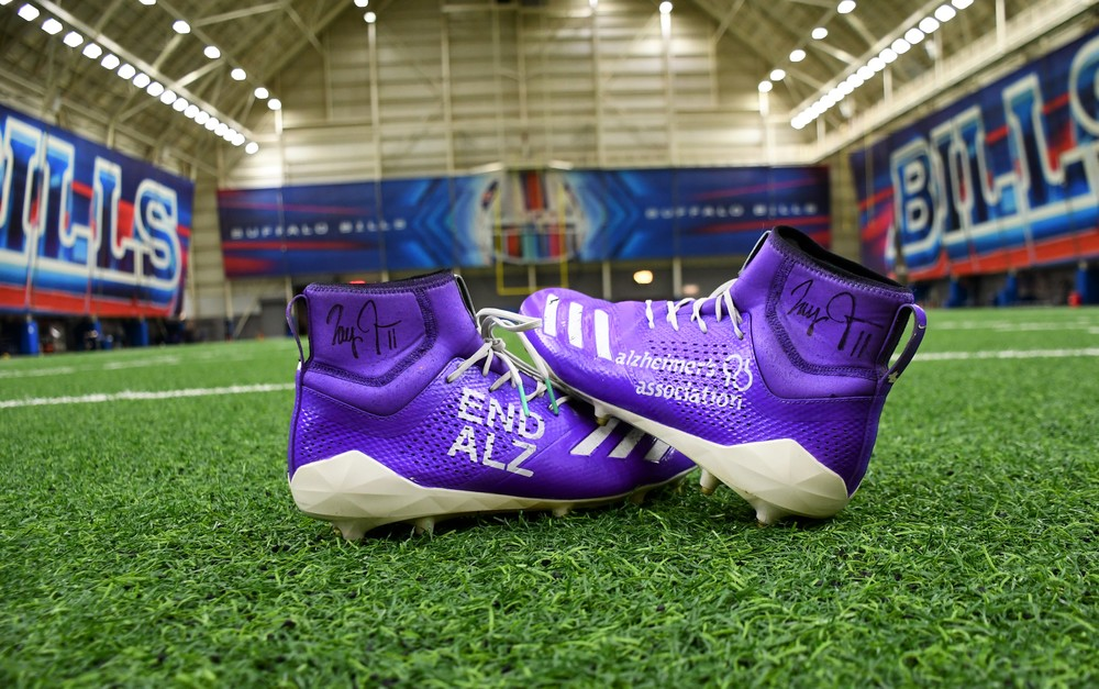 MY CAUSE MY CLEATS -  ZAY JONES GAME SIGNED AND PRE-GAME WORN CUSTOM CLEATS