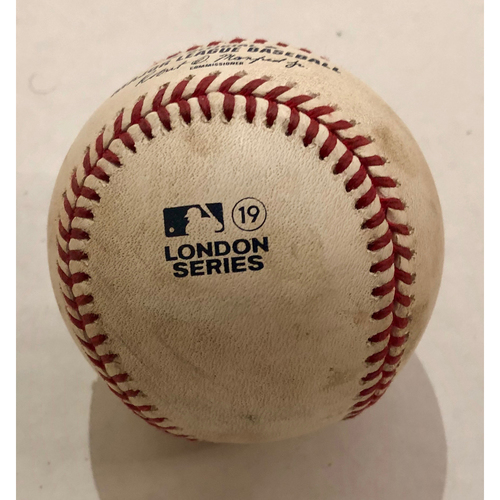 Photo of 2019 London Series - Game Used Baseball - Batter: DJ LeMahieu, Pitcher : Josh Taylor, 2-RBI Single,  New York Yankees vs Boston Red Sox - 6/29/2019
