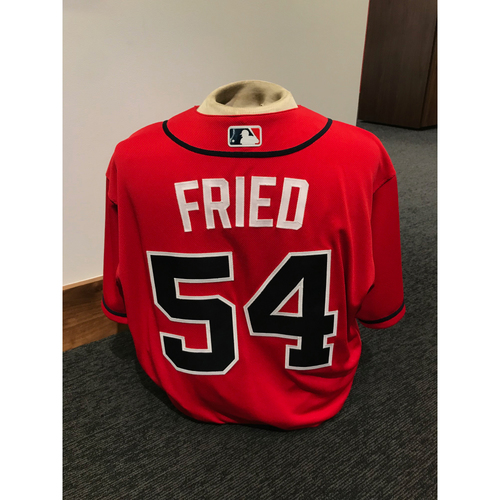 Photo of Max Fried 2019 Atlanta Braves Team-Issued Los Bravos Day Jersey