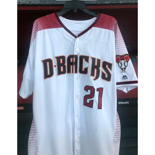 Photo of Zack Greinke Game-Used Jersey - 6/24/19 vs. Dodgers (6IP, 6K / 1-2, HR & RBI)