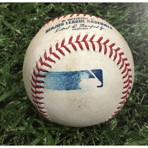 Photo of Game-Used Baseball KC@MIL  06/26/18 - Freddy Peralta - Salvador Perez: Foul Ball