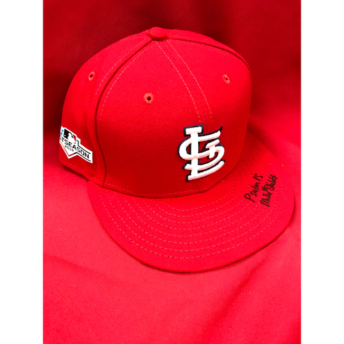 Photo of  Mike Shildt Autographed Team Issued 2019 Postseason Home Cap (Size 7 3/8)