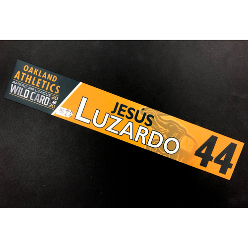 Photo of Game-Used 2020 AL Wild Card Locker Nameplate - Jesus Luzardo