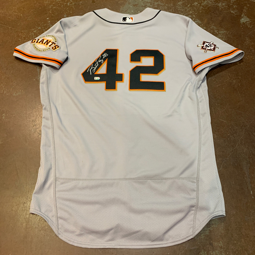 Photo of 2021 Autographed Game Used Jackie Robinson 42 Day Road Jersey worn by #28 (42) Buster Posey on 4/16 @ MIA - Size 46