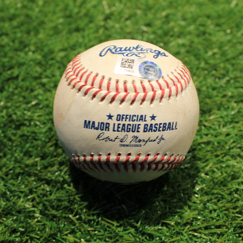 Photo of Game-Used Baseball: Salvador Perez Foul from Record Breaking Single Season Home Run Game (NYY@KC 8/10/21)