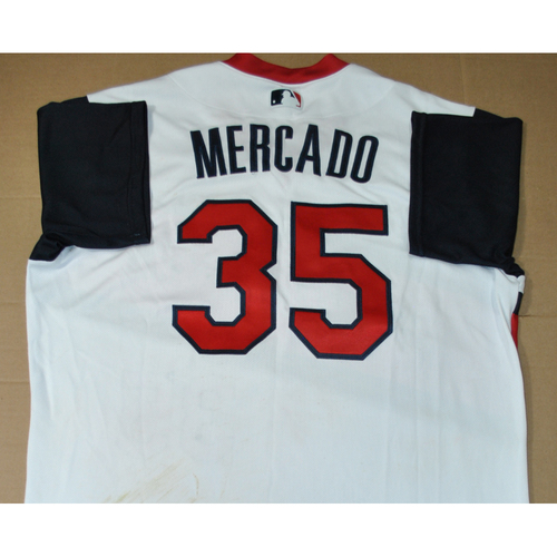 Photo of Game-used Jersey - 2021 Little League Classic - Los Angeles Angels vs. Cleveland Indians - 8/22/2021 - Great Lakes, Oscar Mercado #35