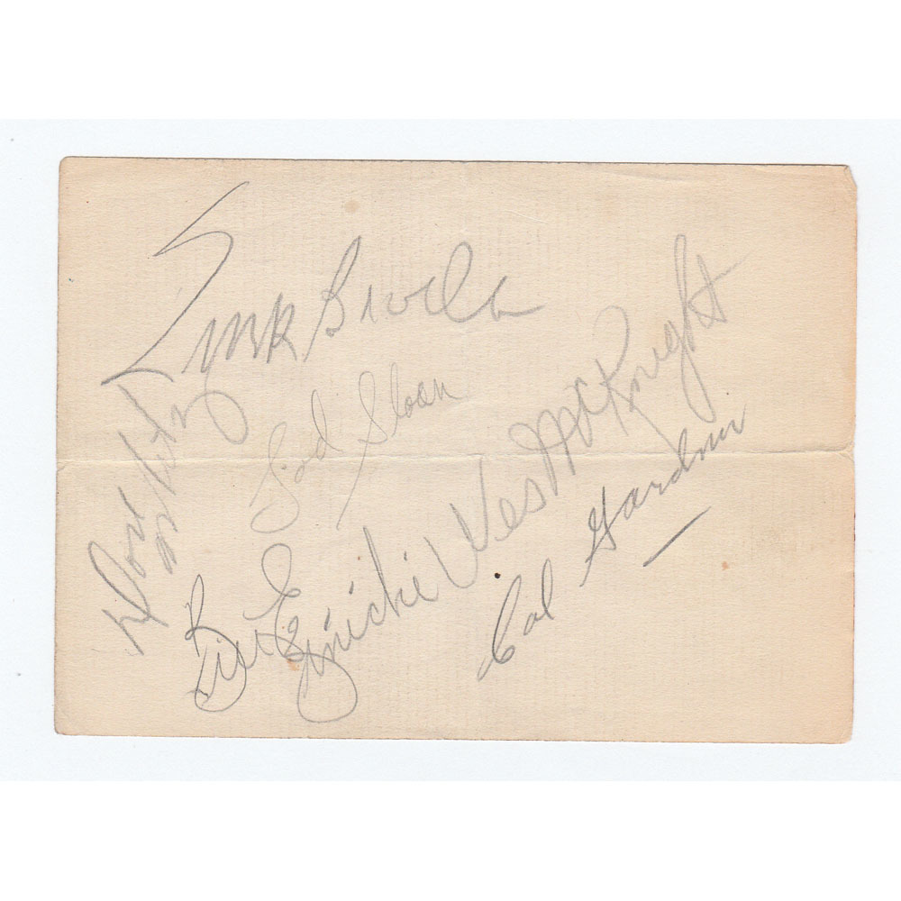 Toronto Maple Leafs 1940s Legends Multi-Signed Index Sheet - Broda, McKnight (HNIC), Ezinicki & More