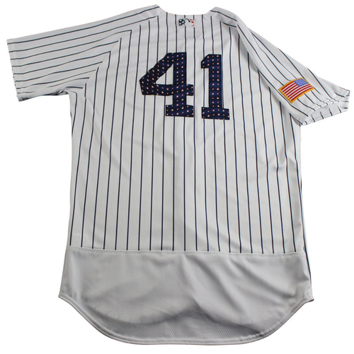 Photo of Mason Williams New York Yankees Team-Issued #41 Fourth of July Pinstripe Jersey (7/4/2017) (Size 44)