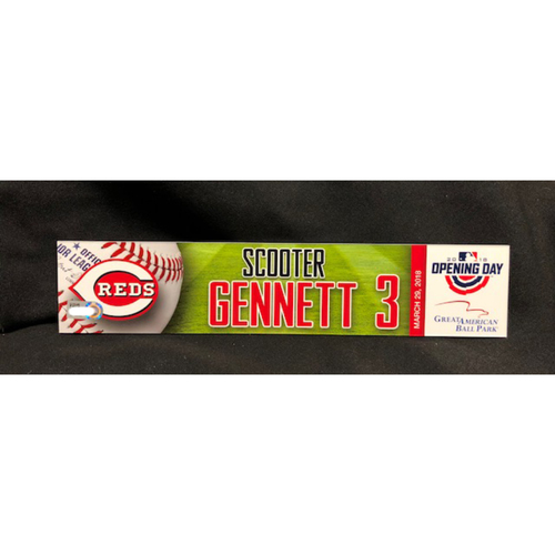 Photo of Scooter Gennett Opening Day Locker Name Plate -- Reds Opening Day Starting Second Baseman -- WSH vs. CIN on 3/30/18
