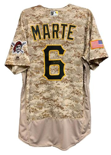 Photo of Starling Marte Autographed Camo Jersey