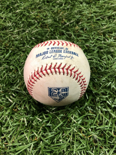 Photo of 20th Anniversary Game Used Baseball: Carlos Gomez 1400th Career Game - Foul Ball - August 7, 2018 v BAL