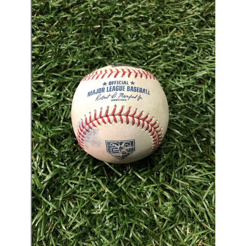 Photo of 20th Anniversary Game Used Baseball: Aaron Judge single, Luke Voit walk and Giancarlo Stanton ball in dirt off Jalen Beeks - September 25, 2018 v NYY