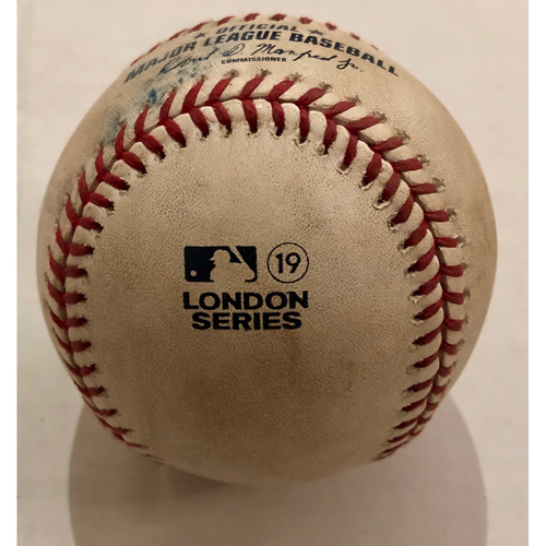Photo of 2019 London Series - Game Used Baseball - Batter: Rafael Devers, Pitcher : Stephen Tarpley, Single,  New York Yankees vs Boston Red Sox - 6/30/2019
