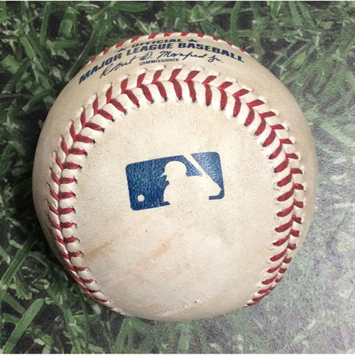 Photo of Game-Used Baseball ATL@MIL 07/17/19 - Dallas Keuchel - Christian Yelich: Strikeout