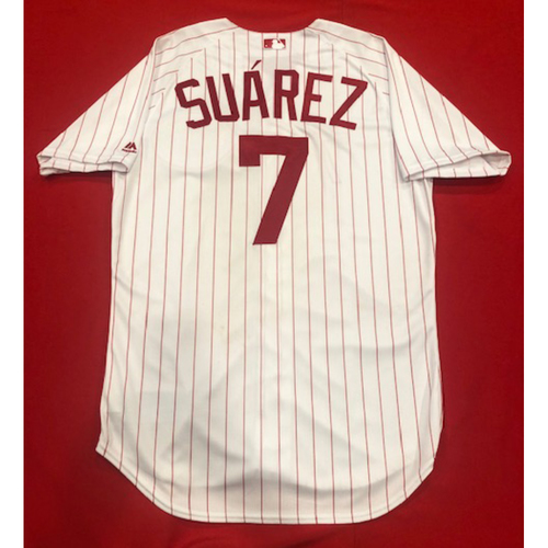 Photo of Eugenio Suarez -- 1967 Throwback Jersey (Starting 3B) -- Game-Used for Rockies vs. Reds on July 28, 2019 -- Jersey Size: 46