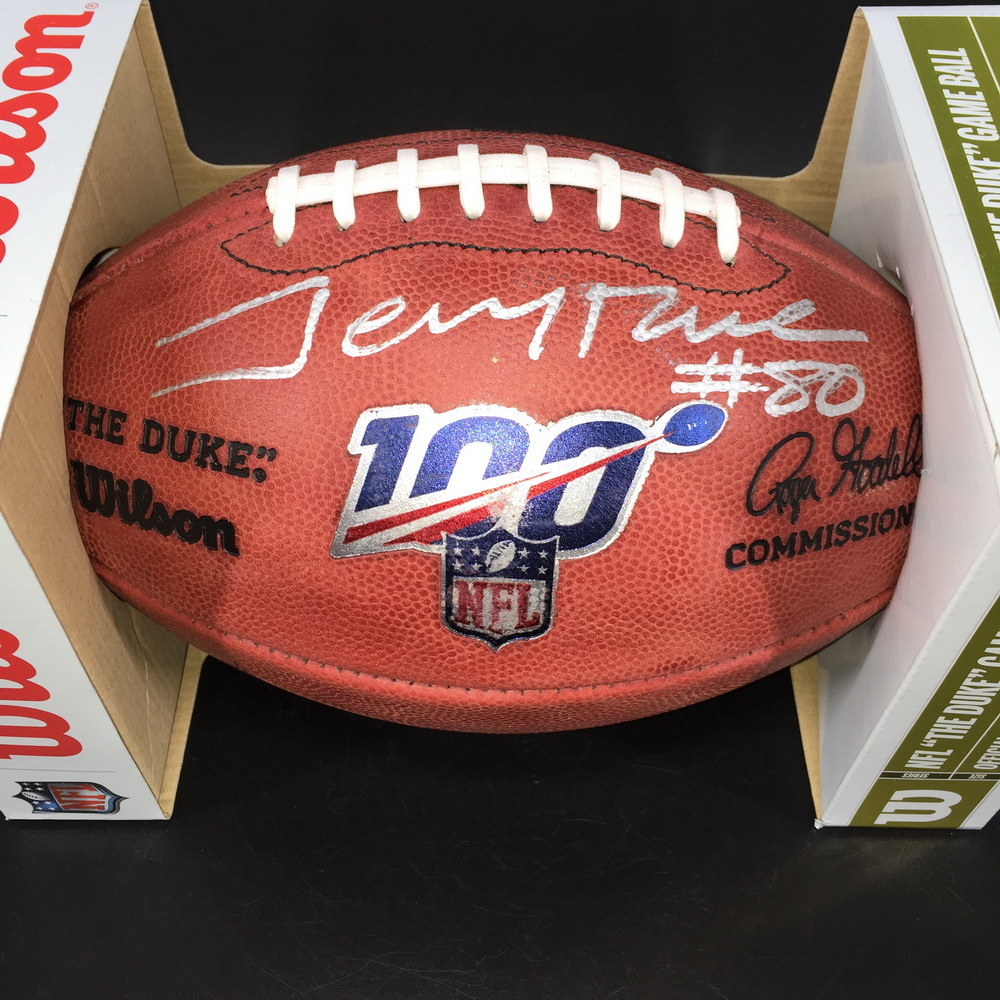 PCC - 49ers Jerry Rice Signed Authentic Football W/ NFL 100 Logo