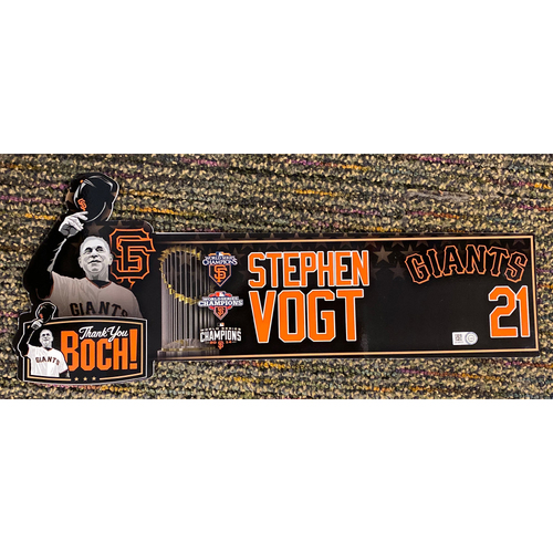 Photo of 2019 Game Used Thank You BOCH! Locker Tag - #21 Stephen Vogt